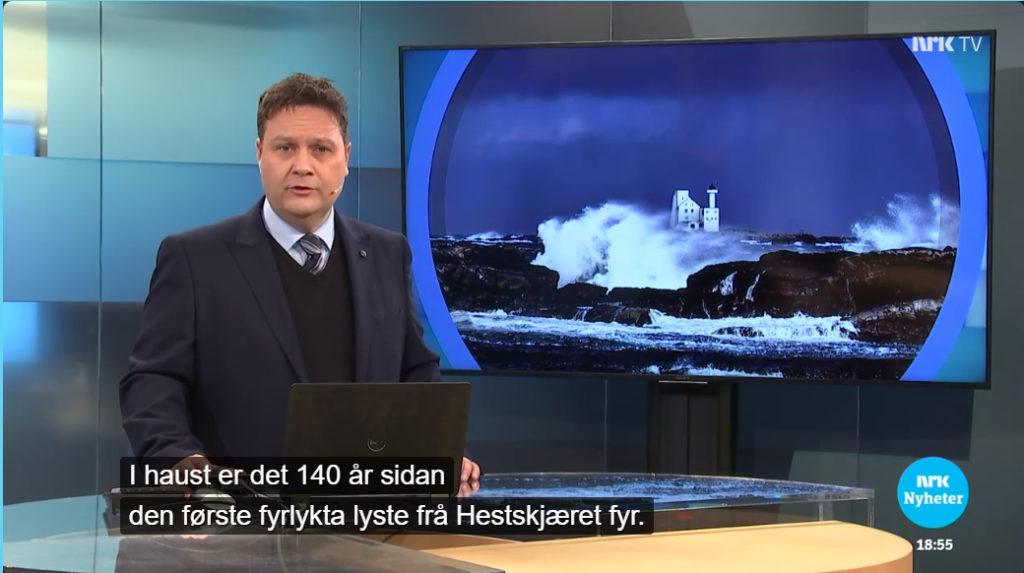 NRK TVs nyhetssak om Hestskjæret fyr 9. oktober 2019.