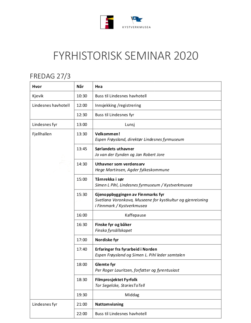 Program for Fyrhistorisk seminar 2020, side 1 av 2.